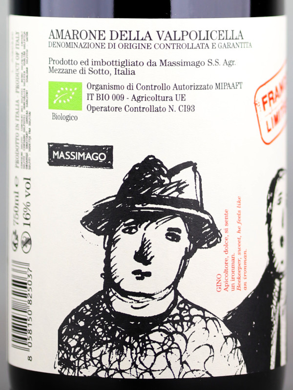 Back label of Massimago Conte Gastone 2015 Amarone della Vapolicella DOCG