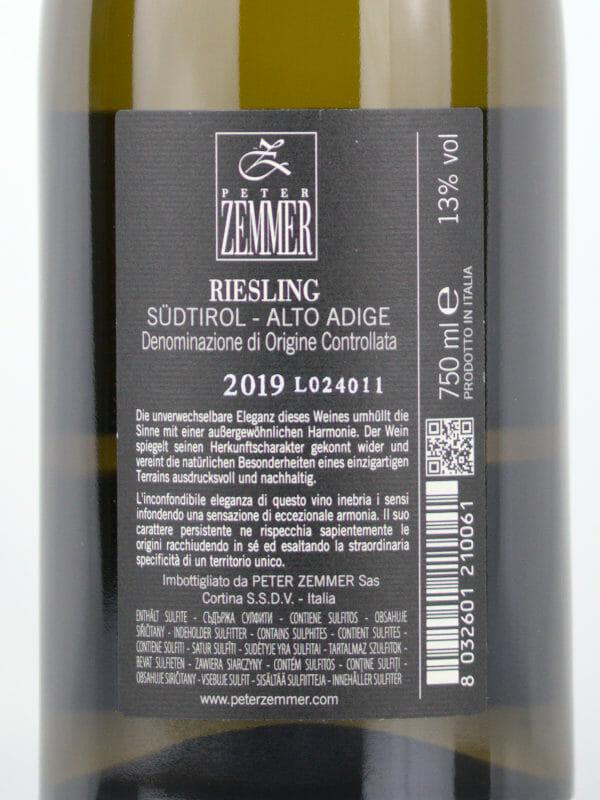 Back label of Peter Zemmer Riesling 2019 Alto Adige DOC