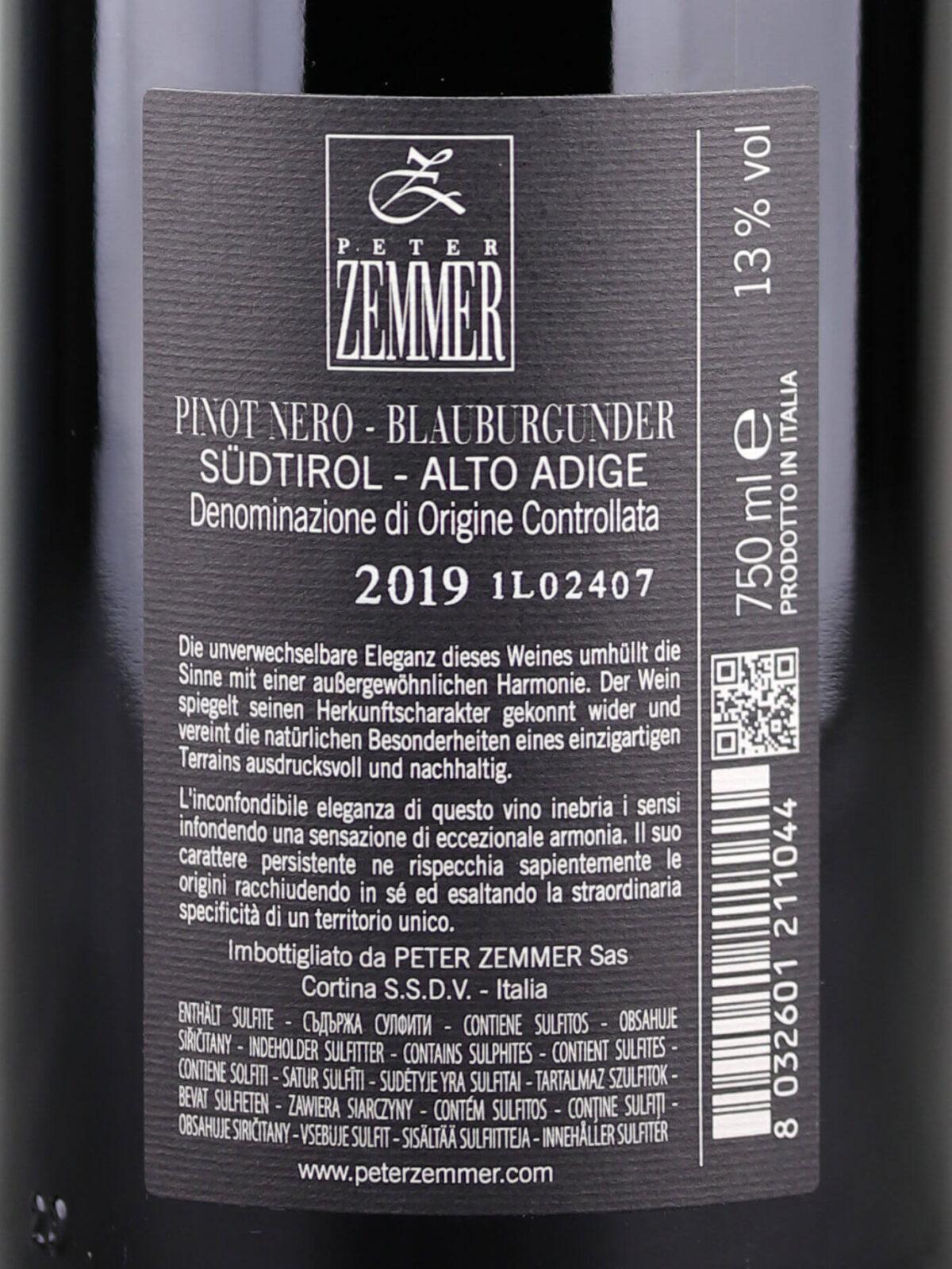 Back label of Peter Zemmer Rolhüt Pinot Noir 2019 Alto Adige DOC
