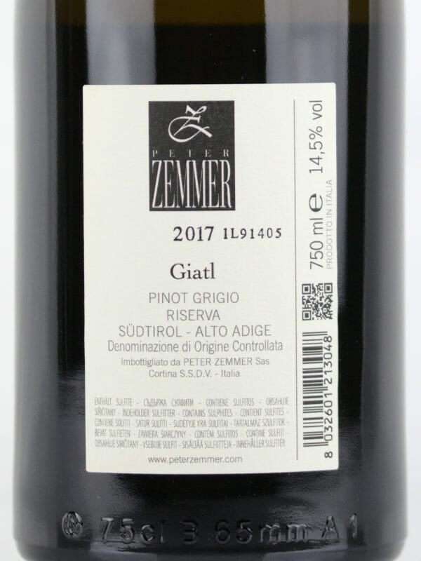Back label of Peter Zemmer Pinot Grigio Riserva Giatl 2017