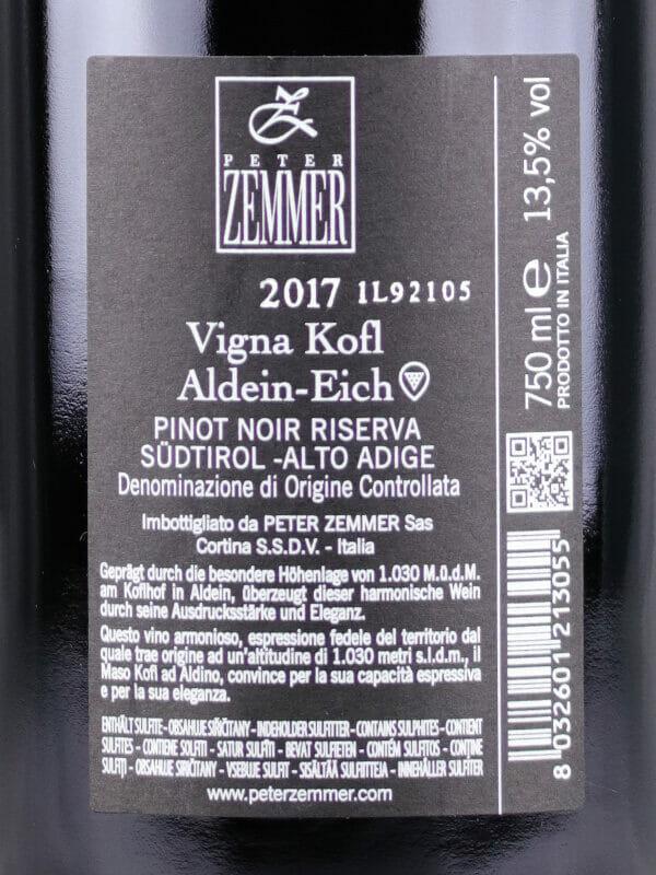 Back label of Pinot Noir Riserva Vigna Kofl 2017