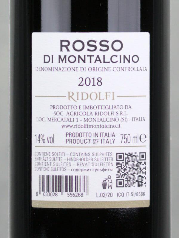 Back label of Ridolfi Rosso di Montalcino 2018