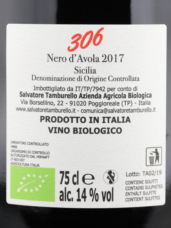 Back label of Salvatore Tamburello, 306 Nero d'Avola Biologico 2017 Sicilia DOC