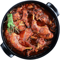 Braised Rabbit with spices, herbs and mushrooms
