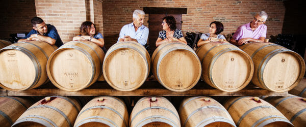 Four generations of the Scagliola family in their cellar in Monferrato in Piedmont