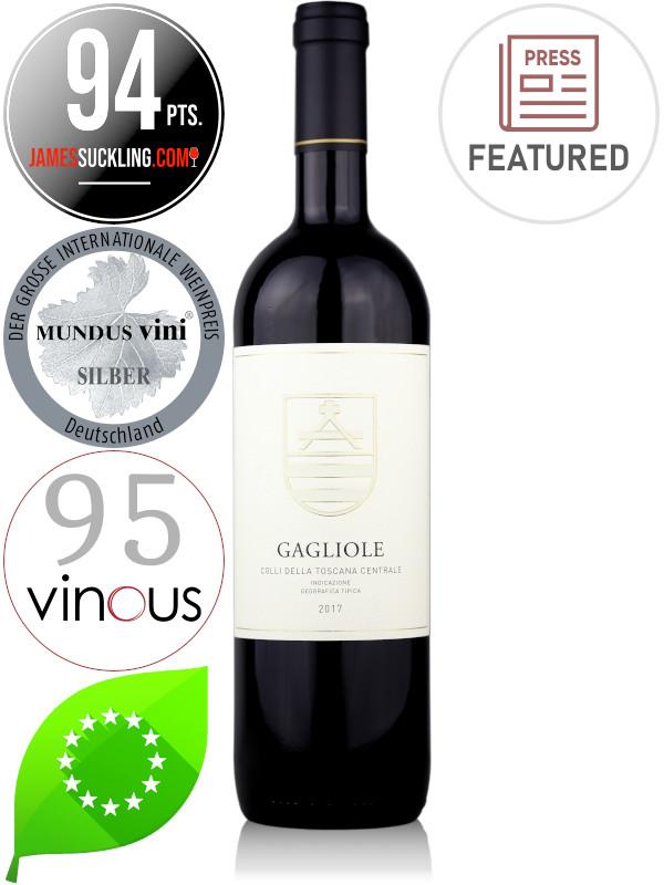 Bottle of organic Super Tuscan red wine Gagliole 2017 Colli Della Toscana Centrale IGT