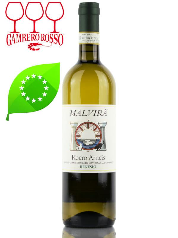 Bottle of organic white wine Malvira Roero Arneis Renesio