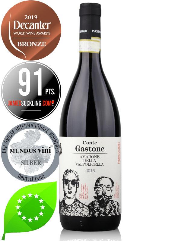 Bottle of Italian red wine Massimago Conte Gastone Amarone della Vapolicella DOCG 2016