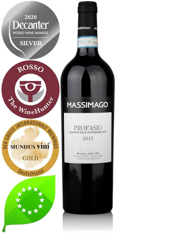 Bottle of Italian red organic wine Massimago Profasio Valpolicella Superiore DOC 2015