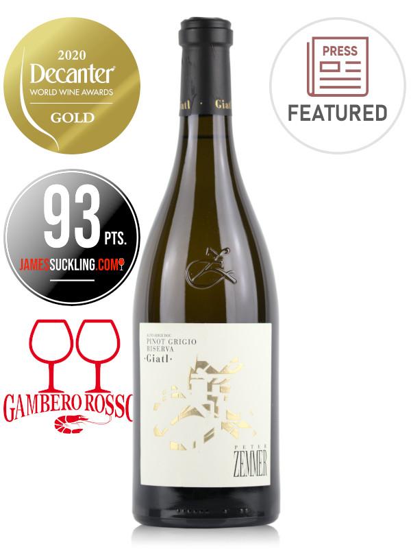 Bottle of white wine Peter Zemmer Pinot Grigio Riserva Giatl 2017