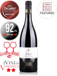 Bottle of Italian red wine Pinot Noir Rolhüt by Peter Zemmer, Alto Adige DOC