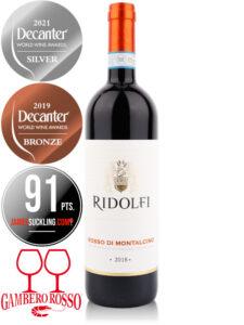 Bottle of red wine Ridolfi Rosso di Montalcino 2018