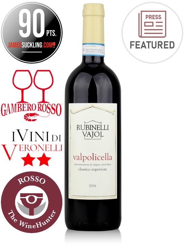 Bottle of Italian red wine Rubinelli Vajol Valpolicella Classico Superiore DOC 2016