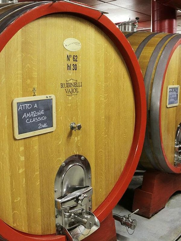 Rubinelli Vajol oak barrel with Amarone dela Valpolicella DOCG wine in cellar