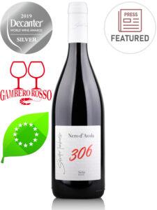Bottle of organic red wine 306 Nero d'Avola Biologico 2017 Sicilia DOC