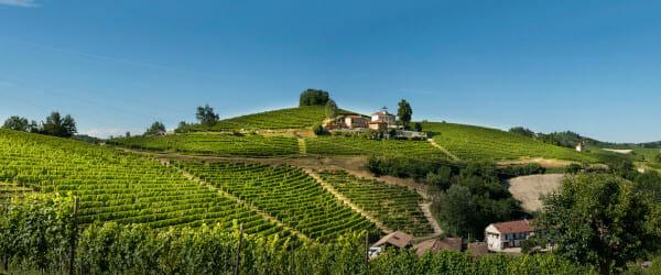Trinità hill and Villa Tiboldi, the Malvirà winery, Roero, Piedmont, Italy