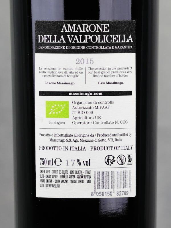 Back label of Massimago Amarone Della Valpolicella DOCG 2015