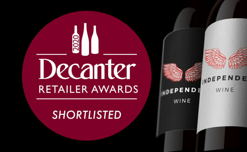 Decanter Retaiiler Awards Shortlisted Badge with two bottles of wine on black background