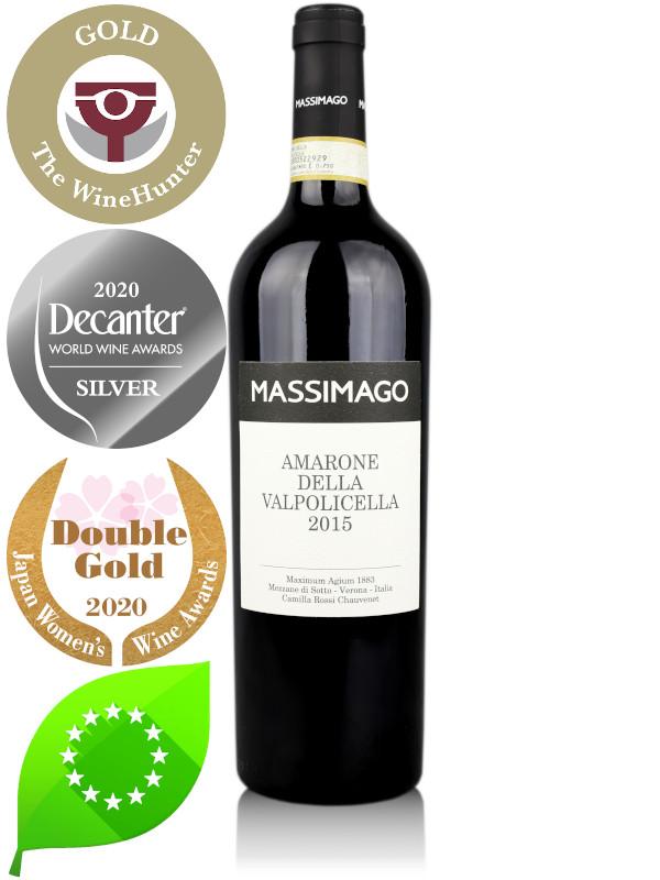 Bottle of Italian organic red wine Massimago Amarone della Valpolicella DOCG 2015
