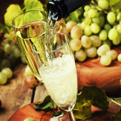 Sparkling wine pouring in the glass