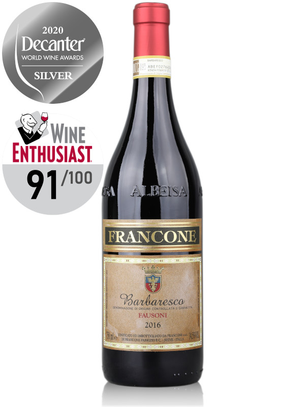 Bottle of red wine Francone Barbaresco DOCG Fausoni cru 2016