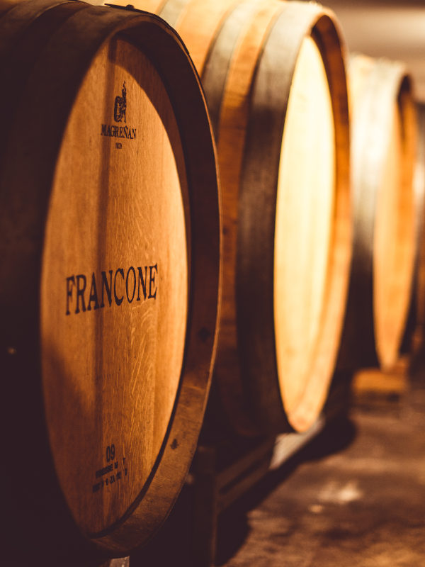 French oak barrels - cellar of Cantina Francone, Neive, Barbaresco DOCG