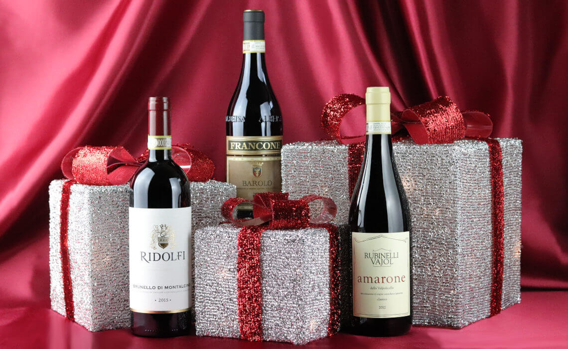 Christmas Gifts from Independent Wine - Barolo, Amarone and Brunello di Montalcino wine with gift boxes