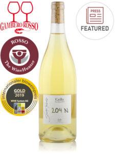Bottle of Italian white wine - Salvatore Tamburello 204N Unfiltered Organic Grillo 2019 - Sicilia DOC