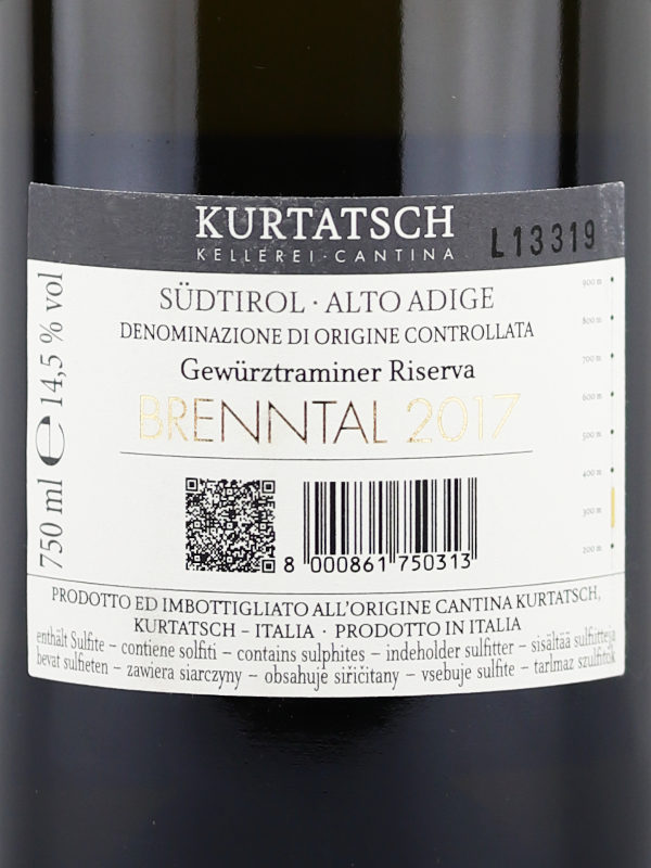 Back label Brenntal Gewurztraminer Riserva 2017