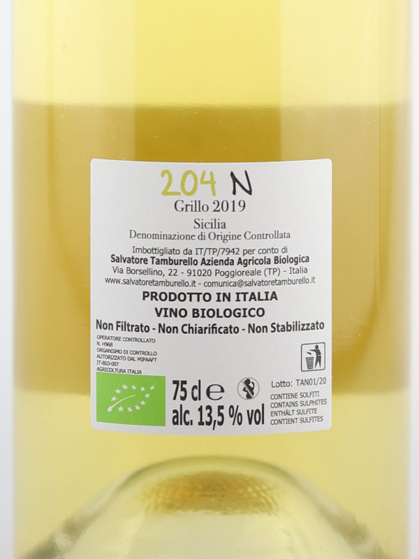 Back label of 204N Unfiltered Organic Grillo 2019 - Sicilia DOC