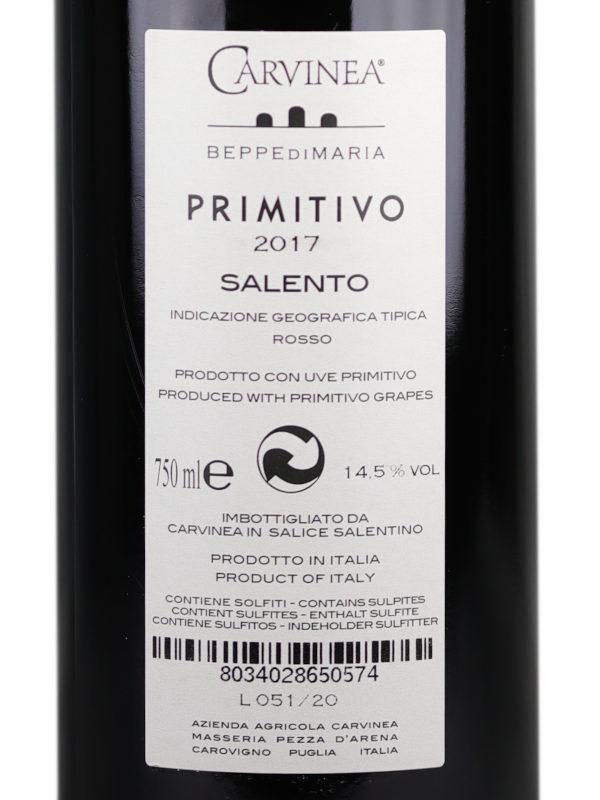 Back label of Carvinea Primitivo 2017