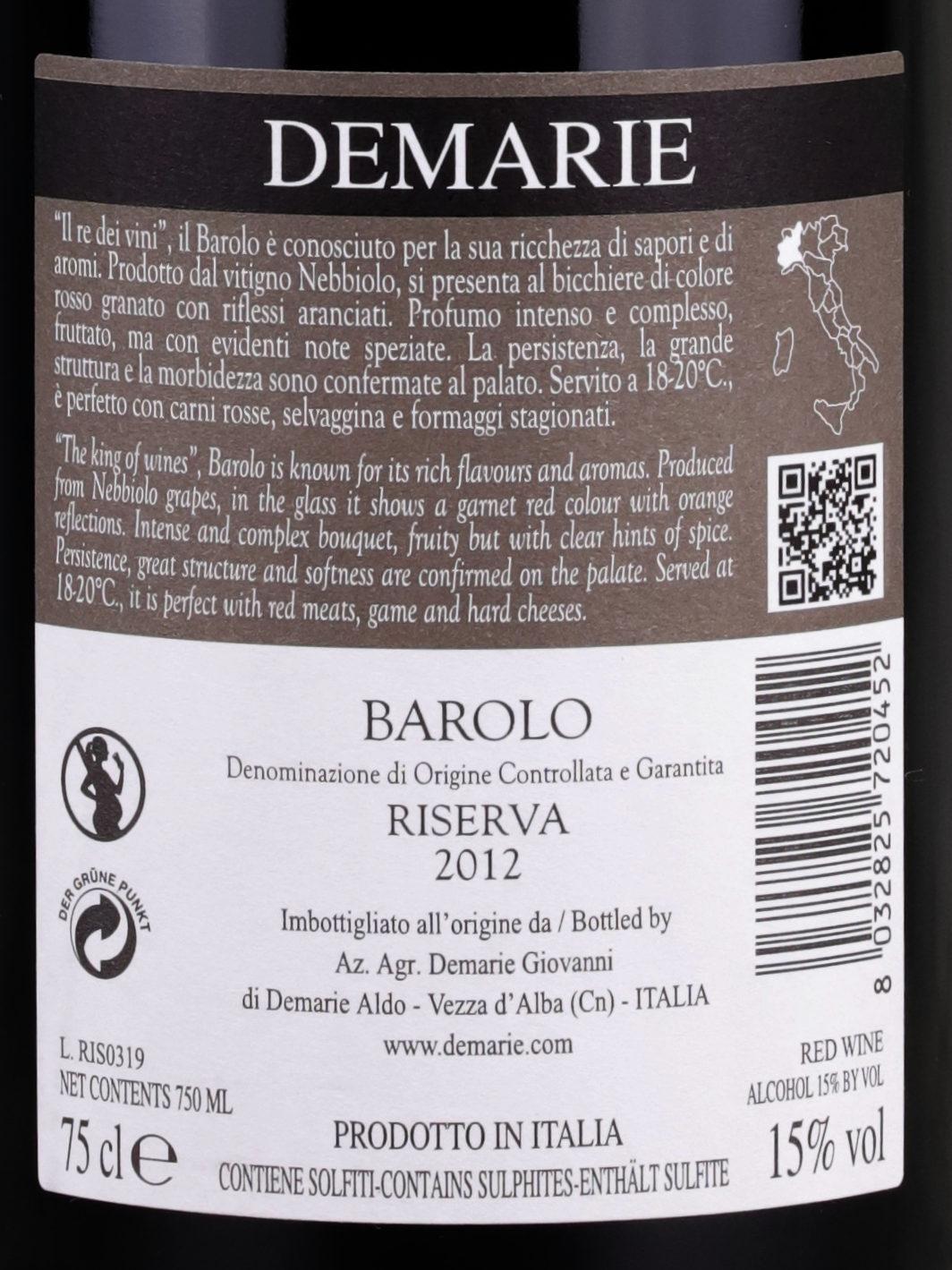 Back label of Demarie Barolo Riserva 2012