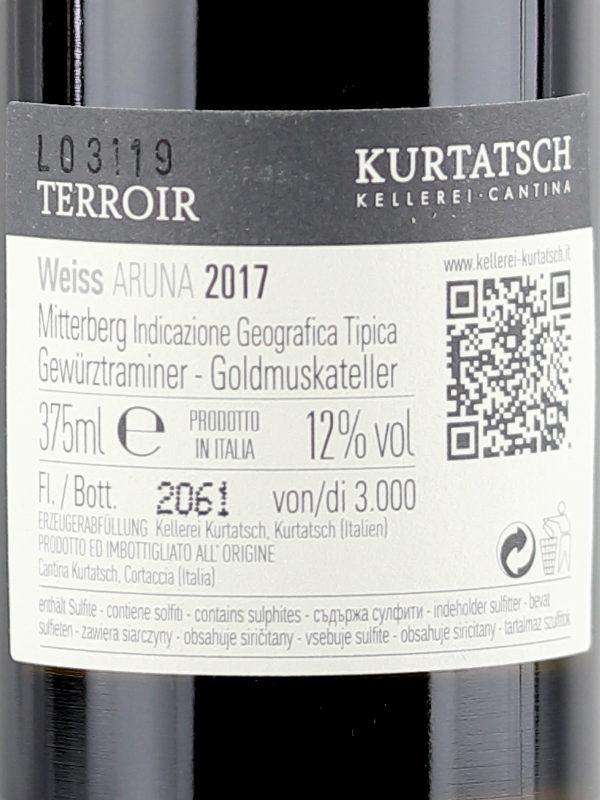 Back label of Kurtatsch Aruna 2016 Gewurztraminer Moscato Passito Dessert Wine