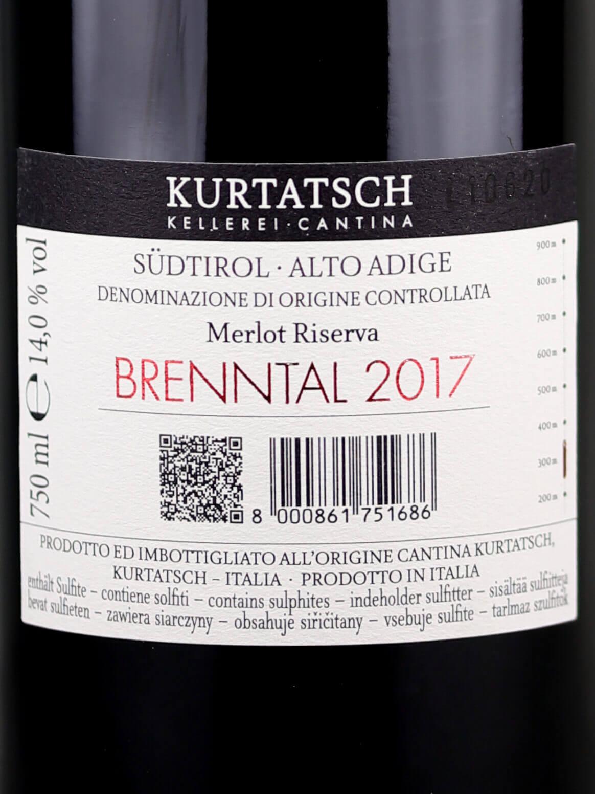 Back label of Kurtatsch Brenntal Merlot Riserva 2017 Alto Adige DOC