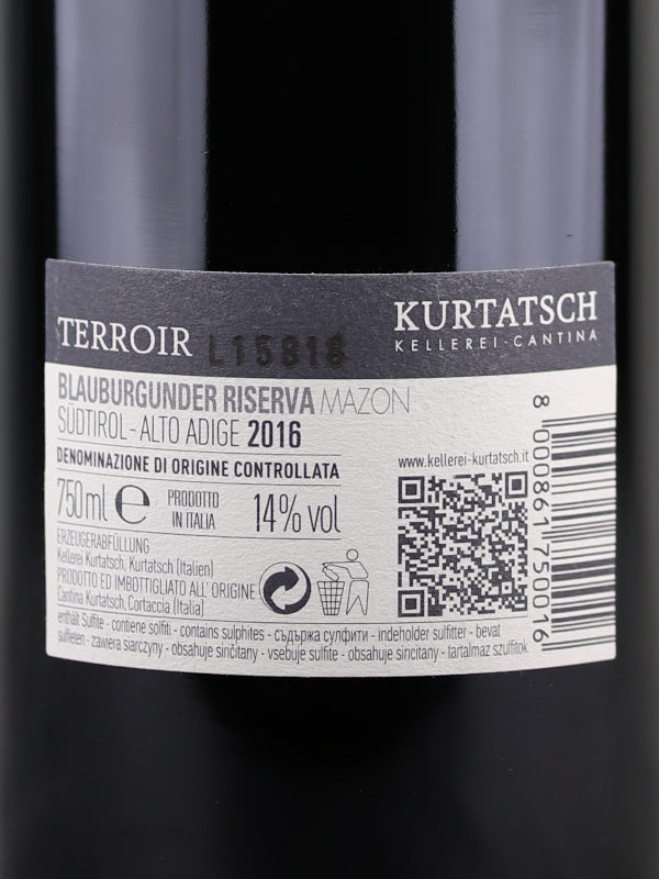 Back label of Kurtatsch Mazon Pinot Noir Riserva 2016 Alto Adige DOC
