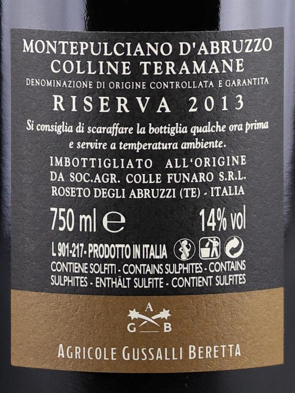Back label of Orlandi Contucci Ponno Montepulciano d'Abruzzo DOCG Riserva 2013