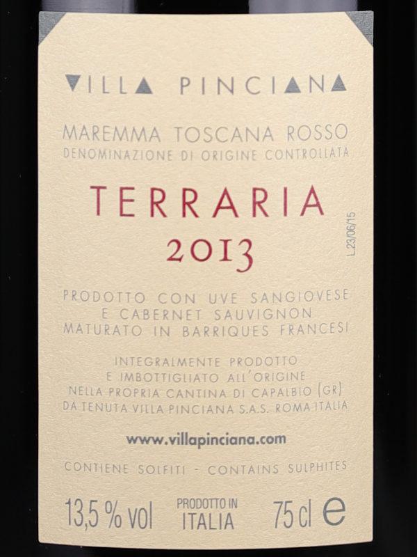 Back label of Villa Pinciana Terraria 2013 Maremma Toscana DOC