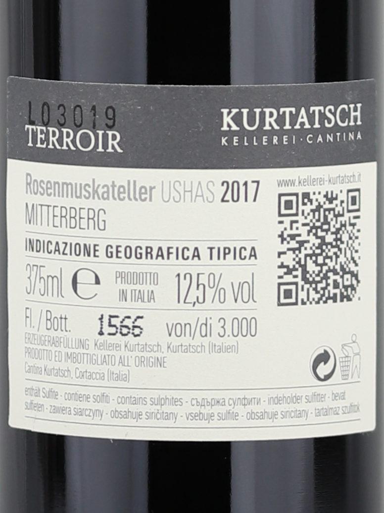 Backlabel of Kurtatsch Ushas Dessert Moscato Rosé wine