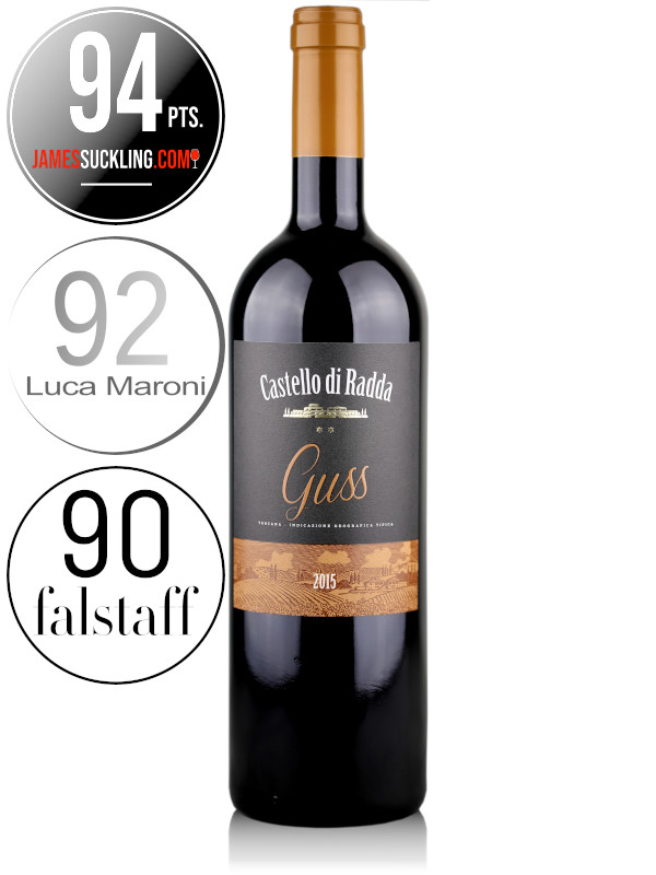 Bottle of Italian Super Tuscan red wine - Castello di Radda Guss 2015 Toscana IGT. 100% Merlot