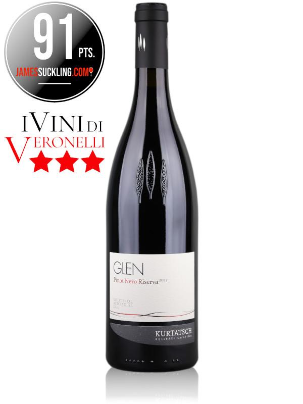 Bottle of Italian red wine Glen Pinot Noir Riserva 2017 Alto Adige DOC