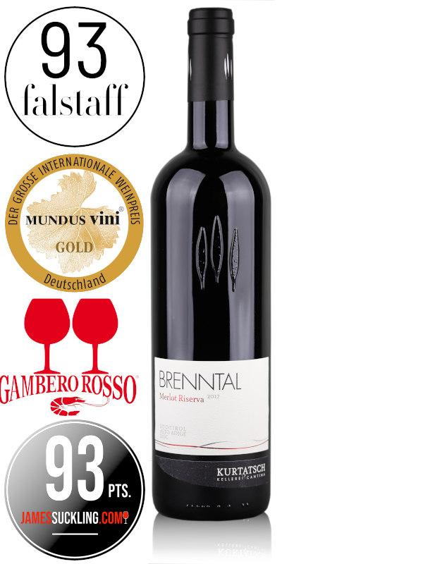 Bottle of Italian red wine Kurtatsch Brenntal Merlot Riserva 2017 Alto Adige DOC