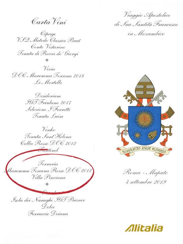 Wine at Pope Francis' private flight menu - Alitalia