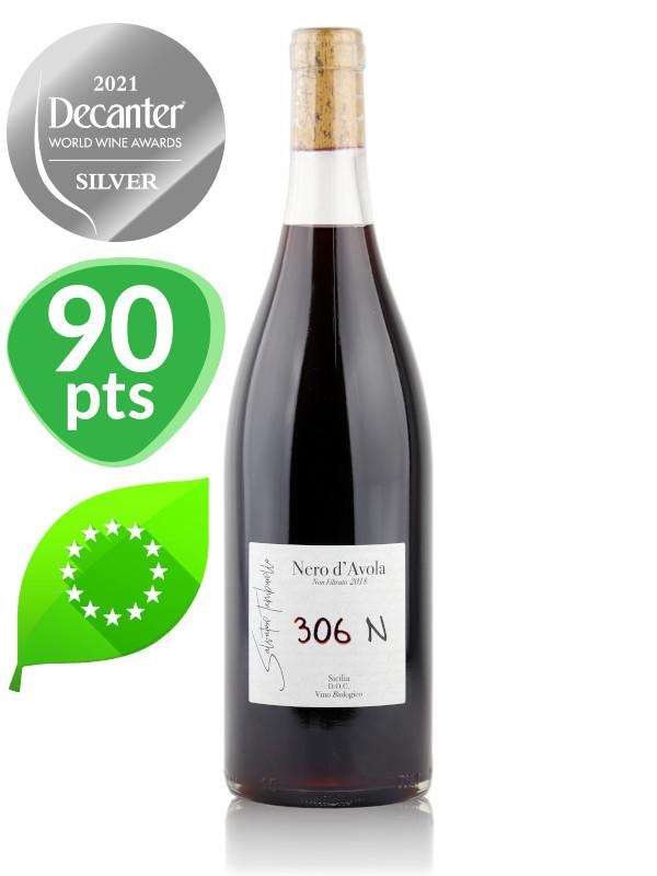 Bottle of Italian red natural wine 306N Unfiltered Organic Nero d'Avola Natural wine, Sicilia DOC