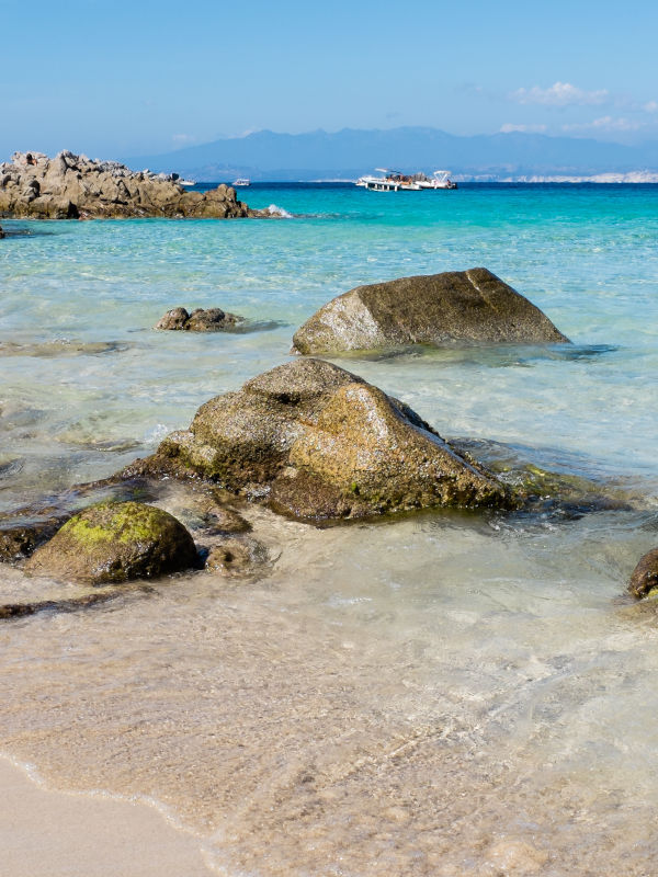 White sandy beaches near Gallura, Sardinia