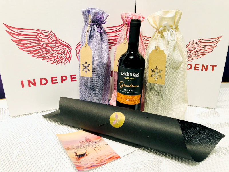 Wines in Gift Wrapping and Best Wishes card prepared by Independent Wine