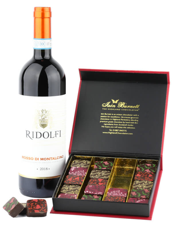 Gift set including bottle of Italian red wine Ridolfi Rosso di Montalcino with Velvet Truffle artisan chocolates