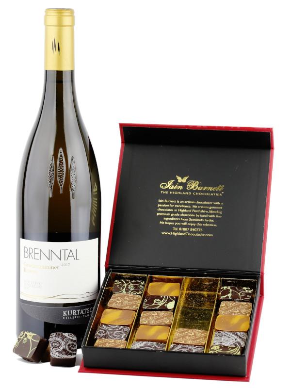 Gift set of Kurtatsch Brenntal Gewurztraminer Riserva Italian wine and Velvet Truffles artisan chocolates by the Highland Chocolatier