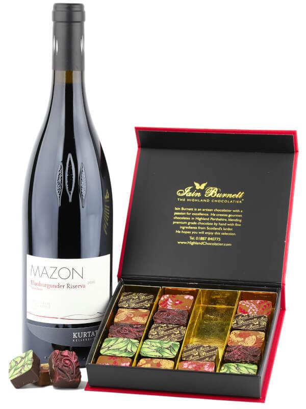 Gift set including bottle of Italian red wine Kurtatsch Mazon Pinot Noir Riserva with Velvet Truffle artisan chocolates