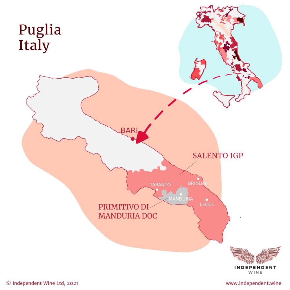 Map of Puglia Italy with production zones for Primitivo wine: Primitivo di Manduria DOC and Salento IGT
