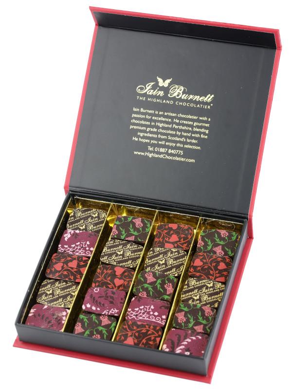 Set of Velvet Truffle artisan chocolates paired with Ridolfi Rosso di Montalcino red wine
